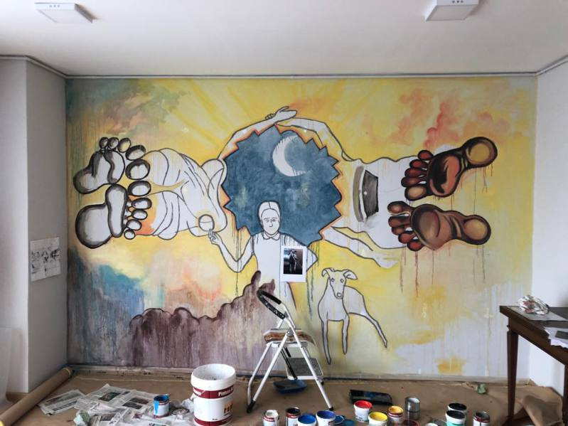 mural clínica podológica